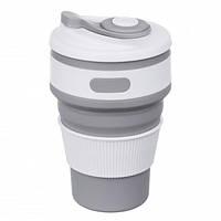Складная силиконовая чашка Collapsible Coffe Cup 350 ml Серая