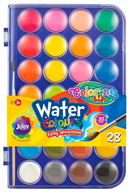 Краски акварельные  с кисточкой, большие таблетки, 28 цветов, Colorino