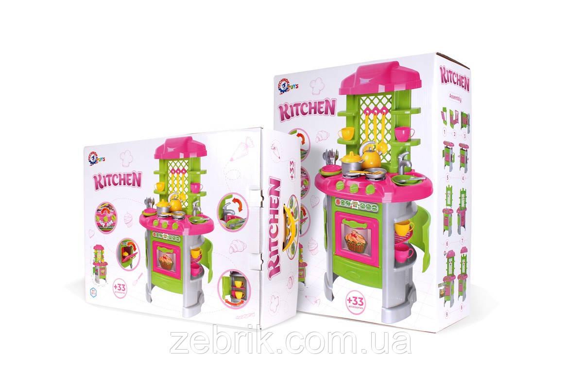 Кухня 8 ТехноК игрушечная с набором посуды тремя камфорками, мойкой с краном,полочками и маленькими шкафчиками