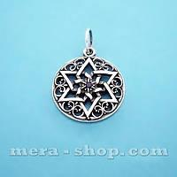 Звезда Велеса серебряный кулон-оберег с камнем