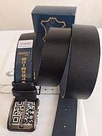 Кожаный ремень мужской,джинсовый,черный 40 мм (джинса)