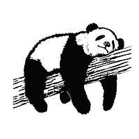 Наклейка на обои, стены, кафель ReD Спящая панда 96х75 см Черная