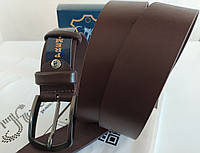 Кожаный мужской ремень, коричневый, классический 40мм