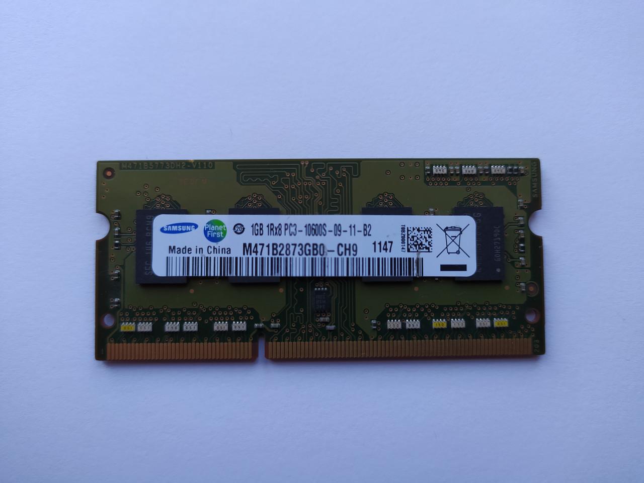 Оперативная память для ноутбука SODIMM Samsung DDR3 1Gb 1333MHz PC3-10600S (M471B2873GB0-CH9) Б/У
