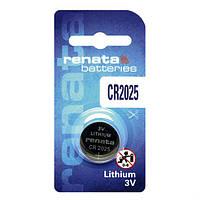Батарейка дисковая Renata  CR2025 Lithium, 3V