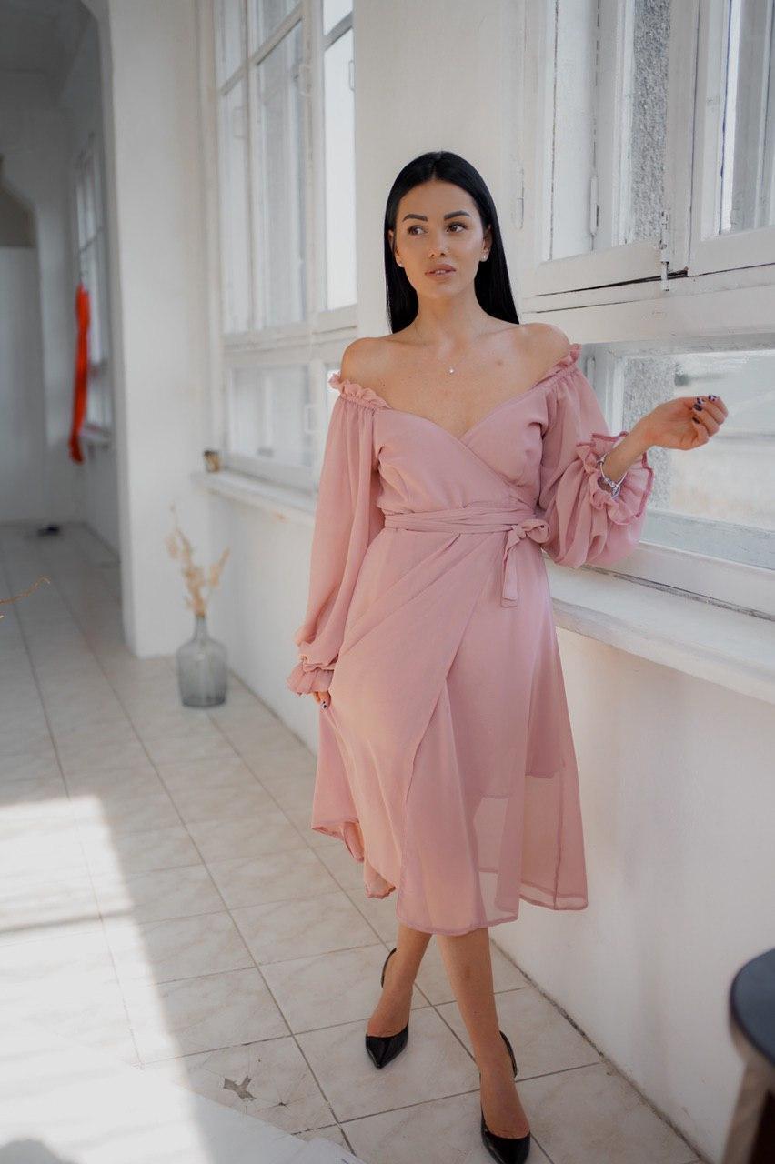 """Шифоновое платье-миди на запах """"Nora"""" с пышными рукавами (2 цвета)"""