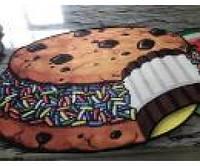 Безворсовый круглый 3D коврик Кексик 80см для ванной, кухни и детской комнаты