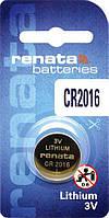 Батарейка дисковая Renata  CR2016 Lithium, 3V