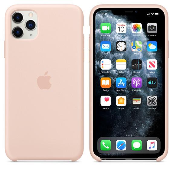 Силиконовый чехол для iPhone 11 Pro Max. Pink Sand. Швы стык в стык, оттенок логотипа и кнопок идентичен