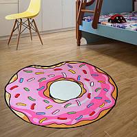 Круглый 3D коврик Пончик безворсовый 80 см на пол, для кухни, детской комнаты и ванной , Підлогові килимки