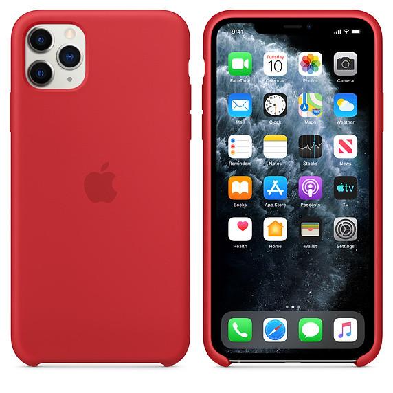Силиконовый чехол для iPhone 11 Pro Max. Red. Швы стык в стык, оттенок логотипа и кнопок идентичен
