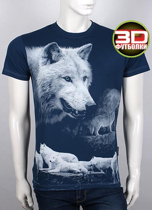 Футболка 3D Valimark Brand Волки  (волк воет на луну) цвет темный джинс