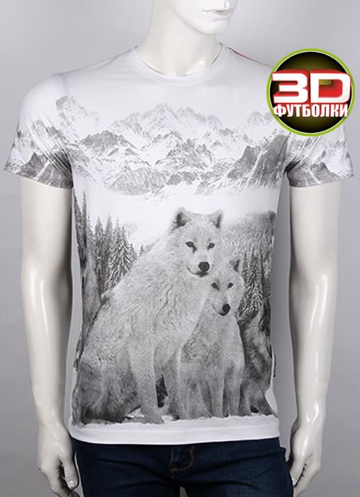 Футболка 3D Valimark Brand white wolf волки на белом цвет белый