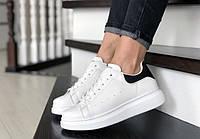 Женские белые кожаные кроссовки, кеды в стиле Alexander McQueen 39 размер