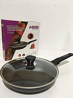 Сковородка с крышкой алюминиевая мраморное покрытие Benson BN-558 съемная ручка 26 см