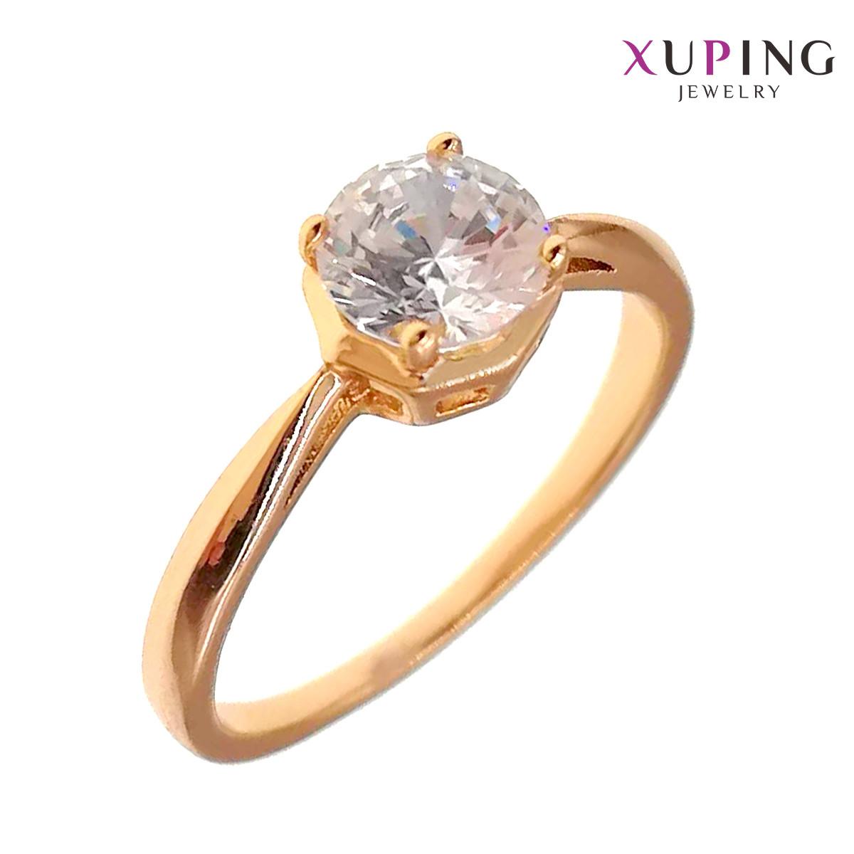 Кольцо Xuping, белый фианит (куб. цирконий), ширина 6 мм, вес 3 г, позолота 18K,  (17)