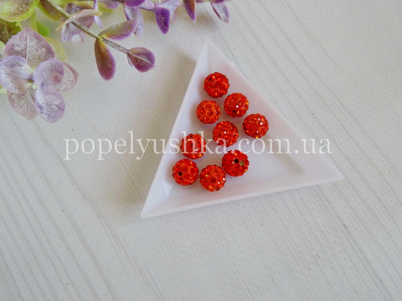 Намистини шамбала Червоні 10 мм