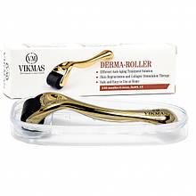 Дермароллер для лица Vikmas Original мезороллер для обновления кожи PREMIUM 540 иголок 0,5мм Gold