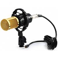 Студийный конденсаторный микрофон Music D.J. M-800  Plus со стойкой и ветрозащитой Black/Gold, фото 1