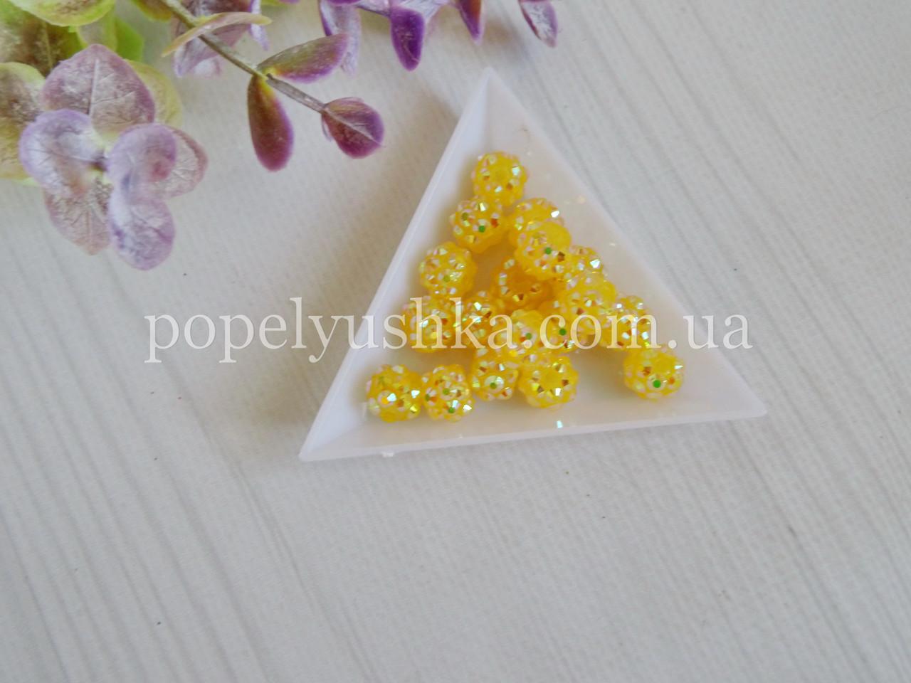 Намистини шамбала Жовтий-хамелеон 10 мм