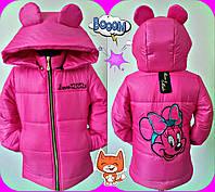 """Демисезонная малиновая куртка для девочек """"Микки маус"""""""