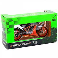 Мотоцикл Автопром Чорно-помаранчевий, 16х5х10 см (7750), фото 2
