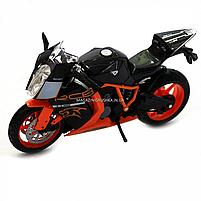 Мотоцикл Автопром Чорно-помаранчевий, 16х5х10 см (7750), фото 3