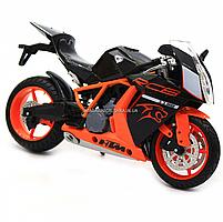 Мотоцикл Автопром Чорно-помаранчевий, 16х5х10 см (7750), фото 4