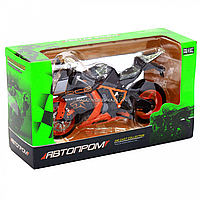 Мотоцикл Автопром Чорно-помаранчевий, 16х5х10 см (7750), фото 5
