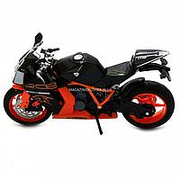 Мотоцикл Автопром Чорно-помаранчевий, 16х5х10 см (7750), фото 6