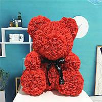 Мишка из 3D роз Flower Bear 25см, красный в красивой подарочной упаковке мишка