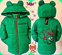 """Демисезонная зелёная куртка для девочек """"Микки маус"""""""