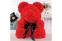 Flower Bear Мишка из роз в подарочной коробке 25 см красный