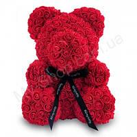Мишка из роз Flower Bear на подарок 25 см, красный