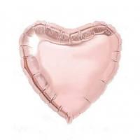 Шар фольгированный сердце РОЗОВОЕ ЗОЛОТО 9 дюймов (23 см)