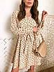 Принтованное платье под пояс с длинным рукавом 73ty1023, фото 4