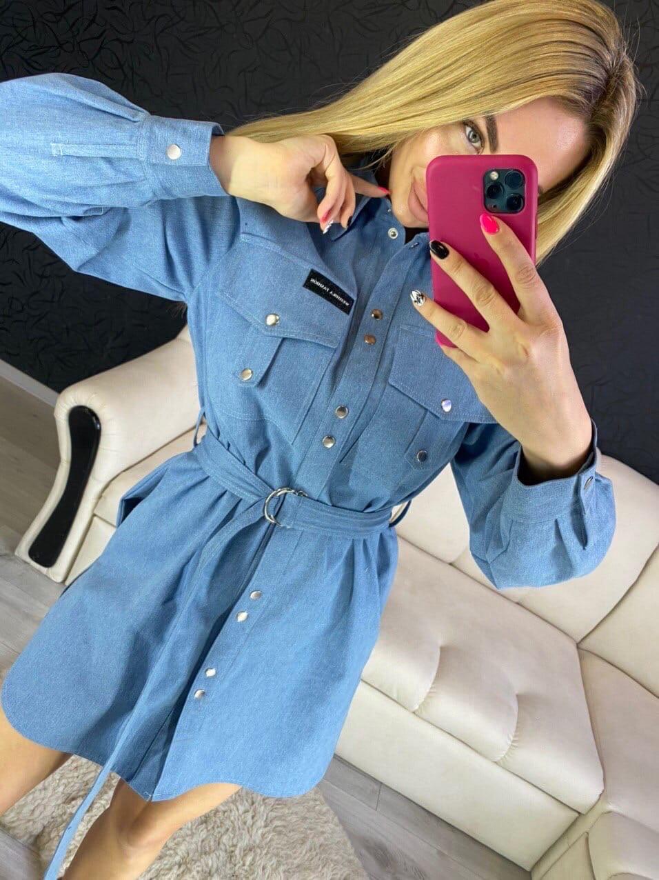 Джинсовое платье - рубашка с длинным рукавом и поясом 16ty1027