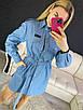 Джинсовое платье - рубашка с длинным рукавом и поясом 16ty1027, фото 2