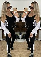 Женский спортивный костюм тройка из двухнитки с топом, мастеркой и штанами 52rt886