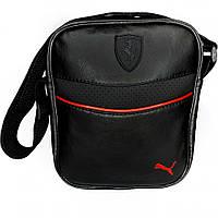 Мужская барсетка Puma Ferrari черная красное лого (Пума Ферари) сумка через плече