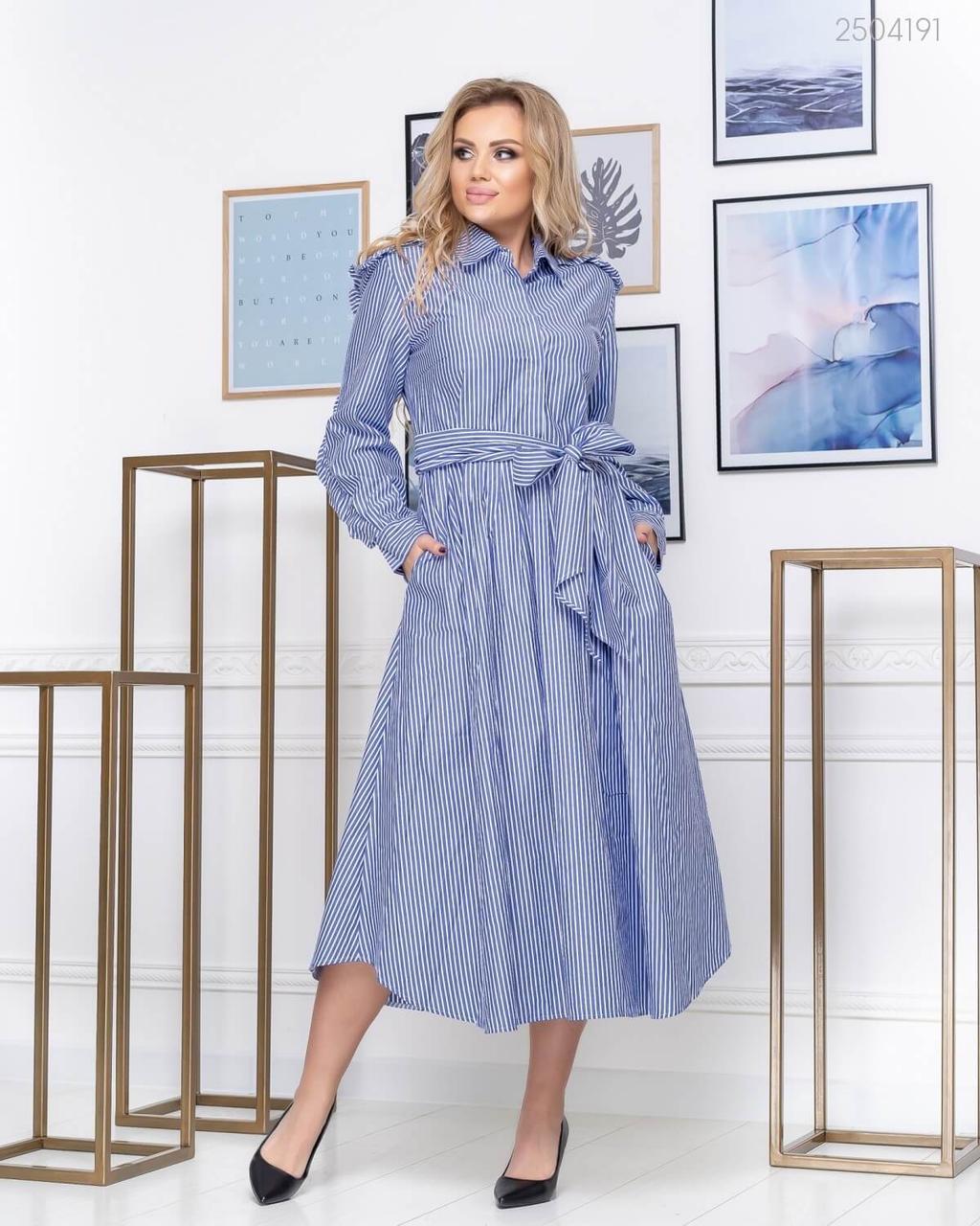 Летнее полосатое платье - рубашка в больших размерах длиной миди 83uk631