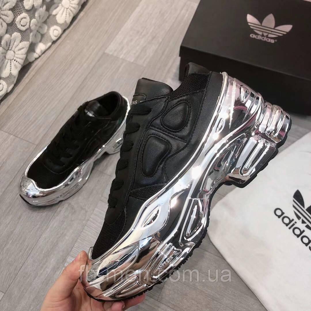 Кроссовки Adidas BY raffsimons массивные черные с серебряной подошвой