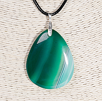 Кулон с агатом зеленым, серебро, 44*32 мм., 1313КЛА