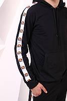 Чорне худі з лампасами Ellesse   толстовка топ, фото 1