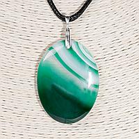Кулон с агатом зеленым, серебро, 44*35 мм., 1314КЛА