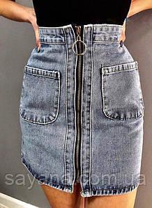 Женская джинсовая юбка на молнии. ФК-10-0420