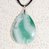Кулон с агатом зеленым, серебро, 46*35 мм., 1315КЛА