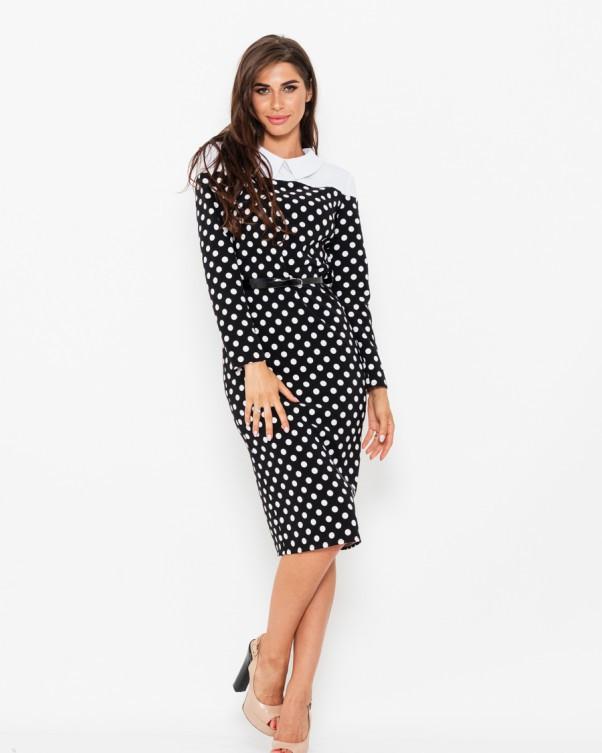 Черное в горошек платье-футляр с белым воротником
