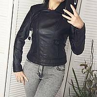 Кожзам куртка черная короткая, фото 1