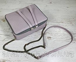 63-3 Из натуральной кожи сумка женская кросс-боди пастельно-сиреневая сумка кожаная сумка светлая лиловая, фото 3
